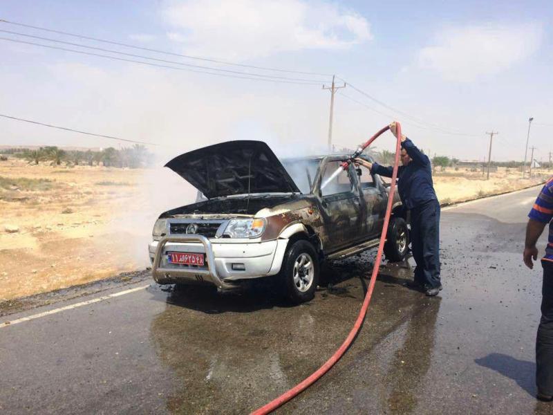 آتش سوزی خودرو منابع طبیعی تنگستان